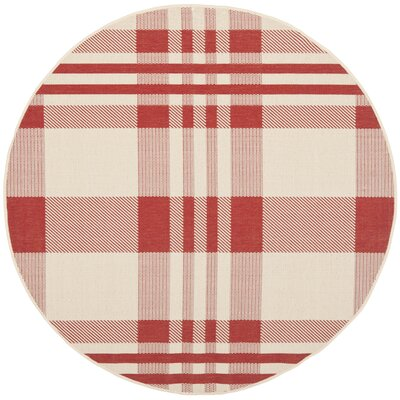 Laurel Red/Bone Indoor/Outdoor Area Rug Rug Size: Round 67