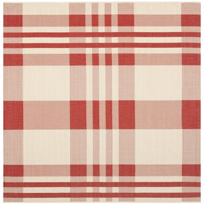 Laurel Red/Bone Indoor/Outdoor Area Rug Rug Size: Square 67