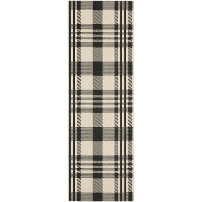 Frazier Black/Bone Indoor/Outdoor Area Rug Rug Size: Runner 24 x 67