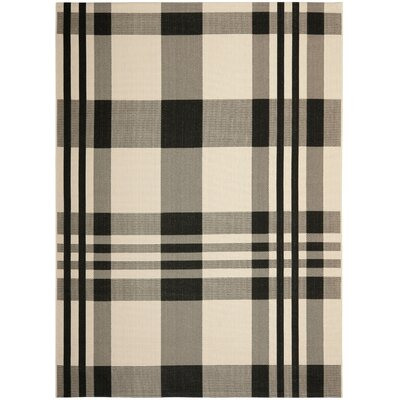 Laurel Black/Bone Indoor/Outdoor Rug Rug Size: 53 x 77