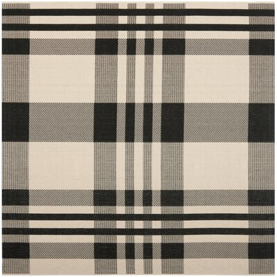 Frazier Black/Bone Indoor/Outdoor Area Rug Rug Size: Square 67