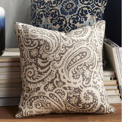 Francisca Paisley Linen Throw Pillow Color: Ash, Size: 22 x 22