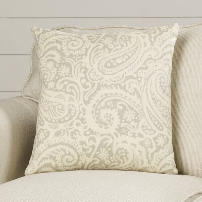 Francisca Paisley Linen Throw Pillow Color: Silver, Size: 18x18