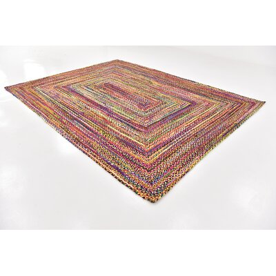 Tetonia Hand-Braided Red Area Rug Rug Size: 9 x 12