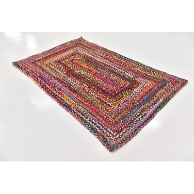 Partee Hand-Braided Red Area Rug Rug Size: Rectangle 5 x 8