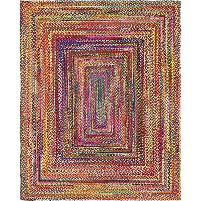 Partee Hand-Braided Red Area Rug Rug Size: Oval 8 x 10
