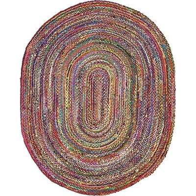 Tetonia Hand-Braided Red Area Rug Rug Size: Oval 8 x 10