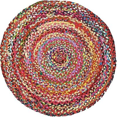 Tetonia Hand-Braided Red Area Rug Rug Size: Round 3 3