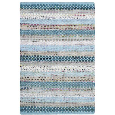 Vesey Hand-Woven Aqua/Gray Area Rug Rug Size: Rectangle 26 x 4