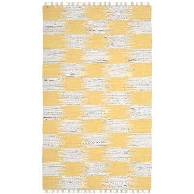 Opie Hand-Woven Yellow/Gray Area Rug Rug Size: 3 x 5