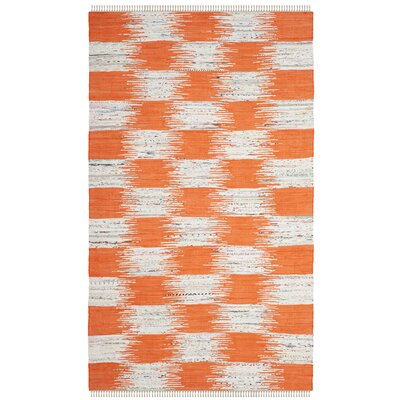Opie Hand-Woven Orange/Gray Area Rug Rug Size: Square 6