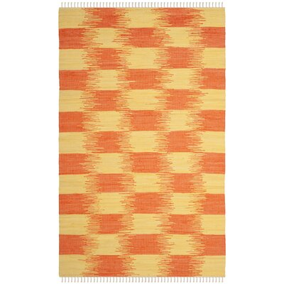 Opie Hand-Woven Orange/Beige Area Rug Rug Size: 5 x 8