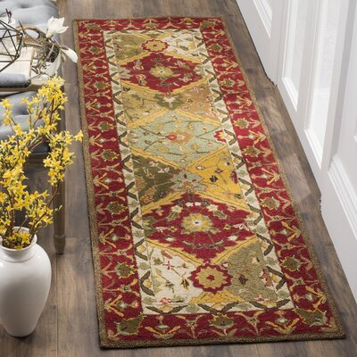 Talmo Hand-Hooked Red/Brown Area Rug Rug Size: Runner 26 x 10
