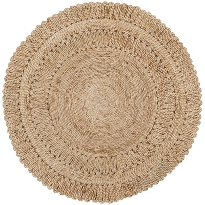 Bluebell Fiber Hand-Woven Natural Area Rug Rug Size: Round 4