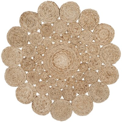 Grimpante Fiber Hand-Woven Natural Area Rug Rug Size: Round 4