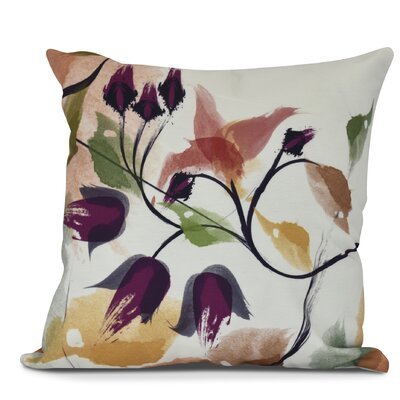 Roscoe Windy Bloom Floral Outdoor Throw Pillow Size: 18 H x 18 W, Color: Red