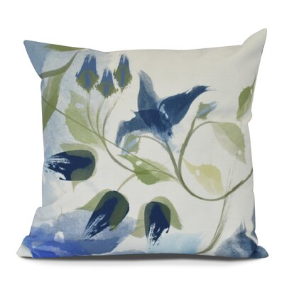 Roscoe Windy Bloom Floral Outdoor Throw Pillow Color: Navy Blue, Size: 18 H x 18 W