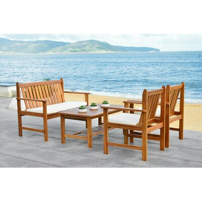 Polly 4 Piece Seating Group with Cushion Finish: Teak Look