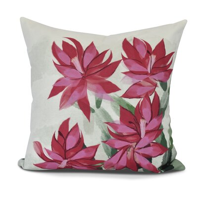Amanda Christmas Cactus Floral Print Outdoor Throw Pillow Size: 18 H x 18 W, Color: Pink
