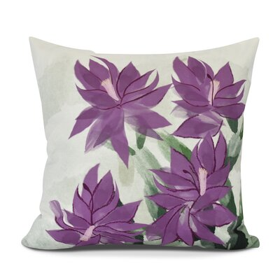Amanda Christmas Cactus Floral Print Throw Pillow Size: 16 H x 16 W, Color: Purple