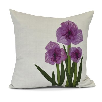 Amanda Amaryllis Floral Print Outdoor Throw Pillow Size: 18 H x 18 W, Color: Purple