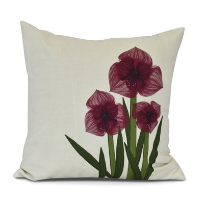 Amanda Amaryllis Floral Print Throw Pillow Color: Red, Size: 18 H x 18 W