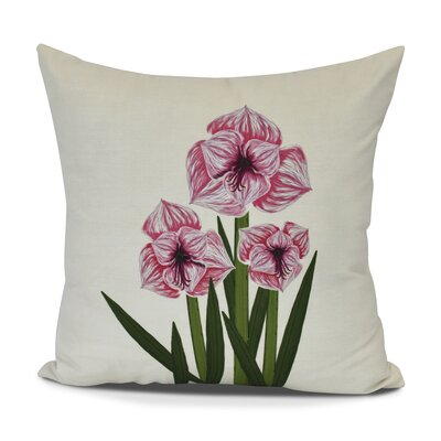 Amanda Amaryllis Floral Print Throw Pillow Size: 18 H x 18 W, Color: Red