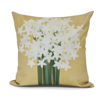 Amanda Paperwhites Floral Print Outdoor Throw Pillow Size: 16 H x 16 W, Color: Gold