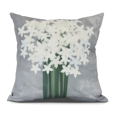 Amanda Paperwhites Floral Print Outdoor Throw Pillow Size: 20 H x 20 W, Color: Gray