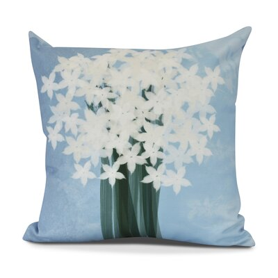 Amanda Paperwhites Floral Print Euro Pillow Color: Light Blue