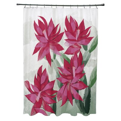 Amanda Christmas Cactus Floral Print Shower Curtain Color: Pink