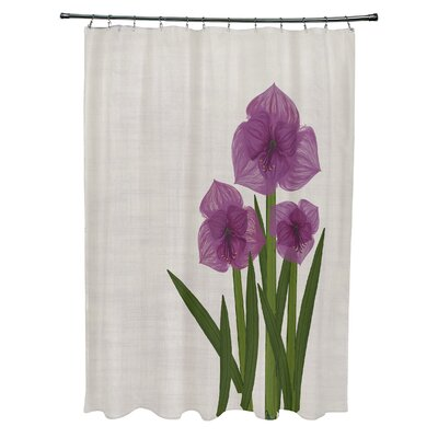 Amanda Amaryllis Floral Print Shower Curtain Color: Purple