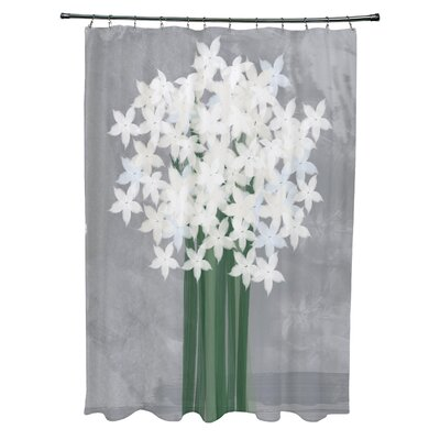 Amanda Paperwhites Floral Print Shower Curtain Color: Gray
