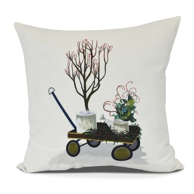 Amanda Farmhouse Holiday Floral Print Throw Pillow Size: 16 H x 16 W