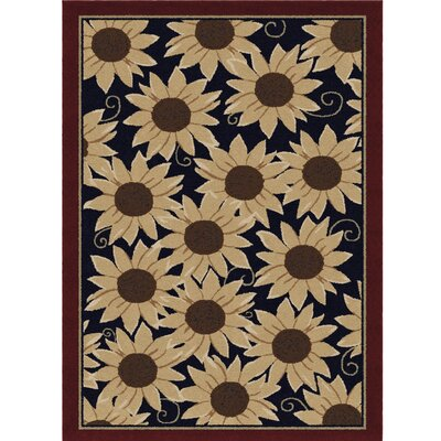 Dancy Autumn Sunflower Evening Beige/Red Area Rug Rug Size: 53 x 76