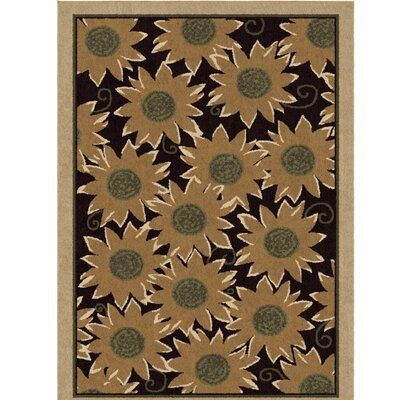 Dancy Autumn Sunflower Beige/Green Area Rug Rug Size: 53 x 76