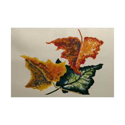 Maillett Autumn Colors Flower Print Off White Indoor/Outdoor Area Rug Rug Size: Rectangle 3 x 5
