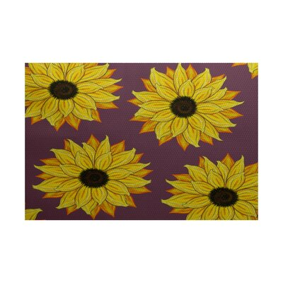 McRae-Helena Sunflower Power Flower Print Purple Outdoor Indoor/Outdoor Area Rug Rug Size: Rectangle 2 x 3