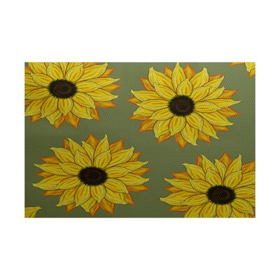 Eulalia Sunflower Power Flower Print Green Outdoor Indoor/Outdoor Area Rug Rug Size: 3 x 5