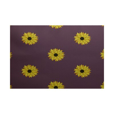 Fanny Sunflower Frenzy Flower Print Purple Indoor/Outdoor Area Rug Rug Size: 2 x 3