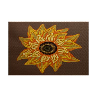 Nayara El Girasol Feliz Flower Print Brown Outdoor Indoor/Outdoor Area Rug Rug Size: Rectangle 2 x 3