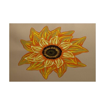 Grass Range El Girasol Feliz Flower Print Beige Indoor/Outdoor Area Rug Rug Size: Rectangle 3 x 5
