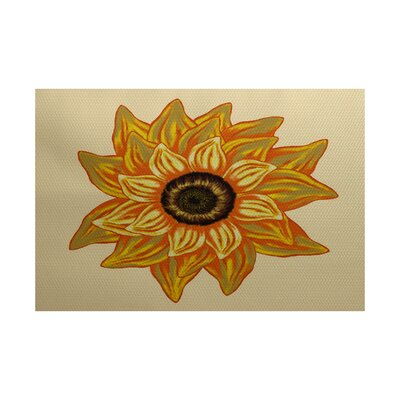Stone Mountain El Girasol Feliz Flower Print Yellow Indoor/Outdoor Area Rug Rug Size: 3' x 5'
