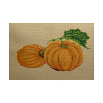 Pumpkin Patch Holiday Print Orange Indoor/Outdoor Area Rug Rug Size: Rectangle 3 x 5