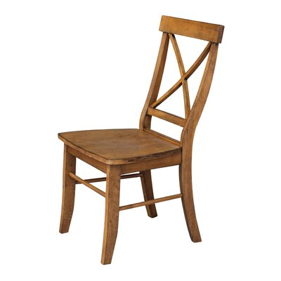 Sawyer Cross Back Solid Wood Dining Chair Finish: Pecan