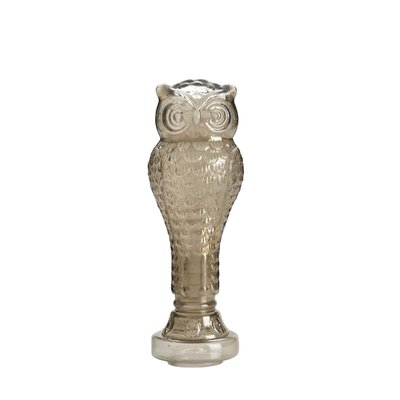 Taupe Glass Owl Statue
