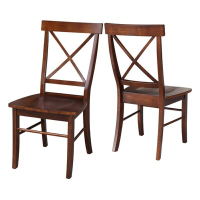 Sawyer Cross Back Solid Wood Dining Chair Finish: Espresso