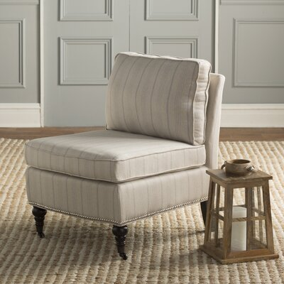 Armless Slipper Chair Upholstery: Ercu Pinstripes, Nailhead Detail: Yes