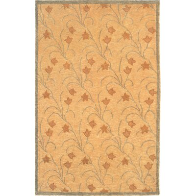 Center Flower Gold Area Rug Rug Size: Round 5