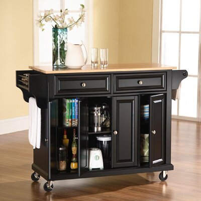 Comte Kitchen Cart/Island with Natural Wood Top Base Finish: Black